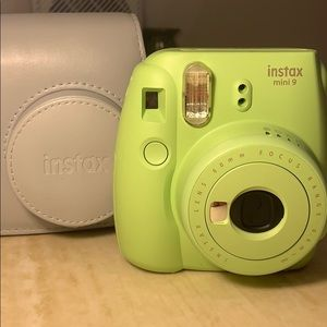 Instax Fujufilm Mini 9 with case and pack of film.